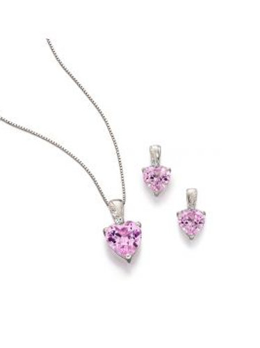 9ct White Gold Pink Sapphire Earrings & Necklace Set