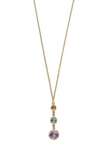 9ct Yellow Gold Triclour Gemstone Amethyst Citrine & Topaz Necklace
