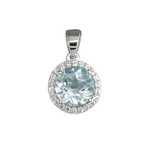 Round Blue Topaz Halo Necklace