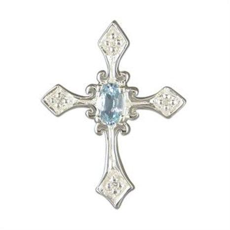 Silver Blue Topaz Fancy Cross Pendant