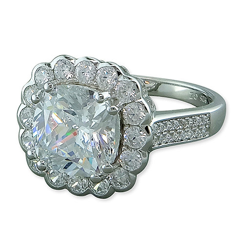 Silver Cushion Cut Cubic Zirconia Vintage Style Ring