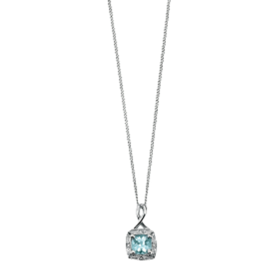 9ct White Gold Aquamarine & Diamond Pendant
