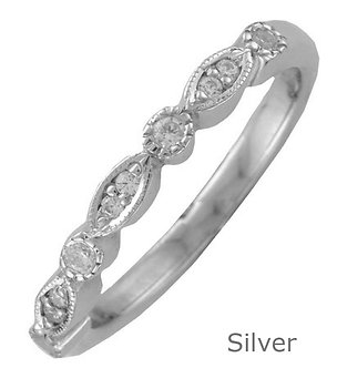 Silver 2.7mm Shaped Vintage Style Diamond Wedding Ring