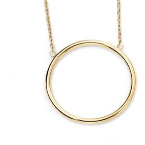 9ct Yellow Gold Large Circle Necklace
