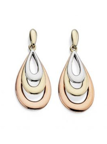 9ct White Yellow & Rose Gold Tricolour Teardrop Earrings