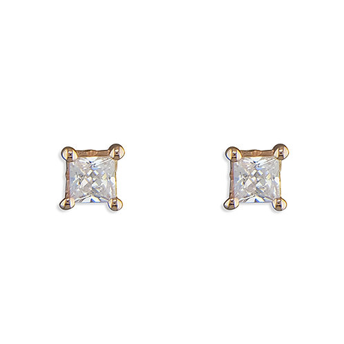 Rose Gold Solitaire CZ Stud Earrings