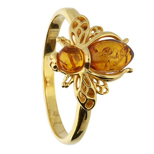 9ct Gold Plated Silver Amber Bee Ring