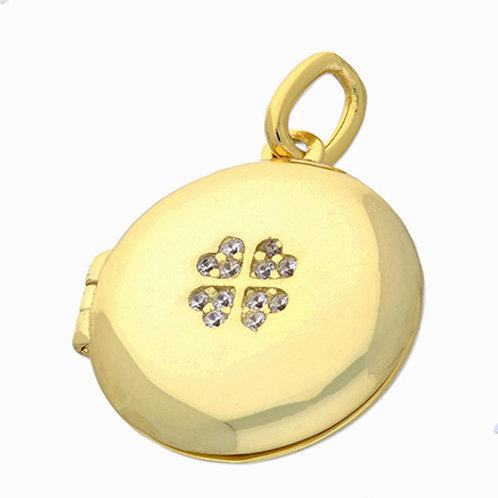 Gold CZ Clover Locket
