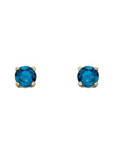9ct Yellow Gold Blue Topaz December Birthstone Stud Earrings