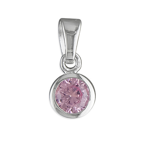 October birthstone pendant pink tourmaline