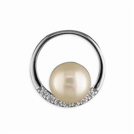 Silver Circle Freshwater Pearl Pendant