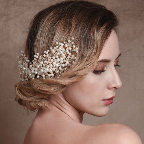 Bridal Hair Head Piece 'Athena Luxe Pearl'