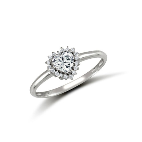 9ct White Gold Heart CZ Cluster Ring