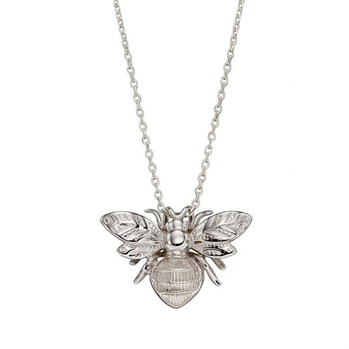 9ct White Gold Bumblebee Pendant Necklace