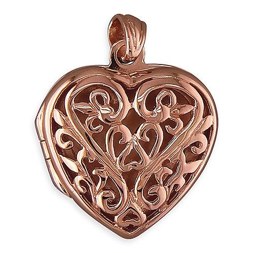 9ct Rose Gold Plated Silver Filigree Locket