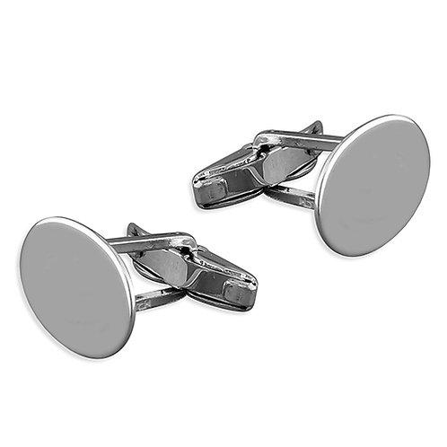 Plain Oval Silver Cufflinks