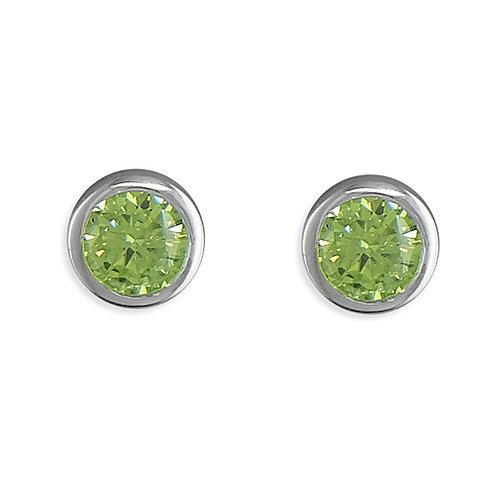 August Birthstone Peridot CZ Stud Earrings