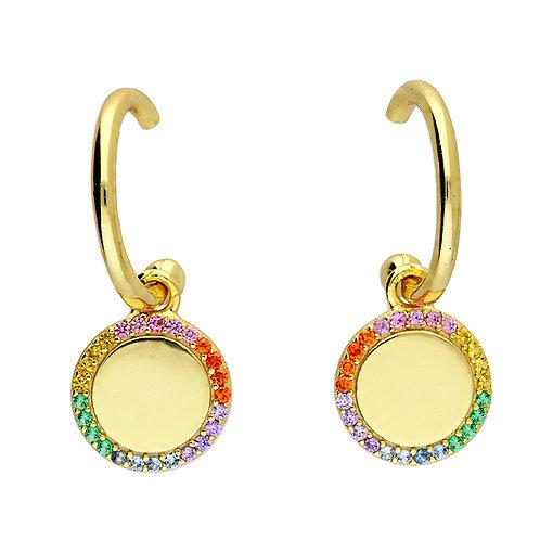 Rainbow cz disc earrings