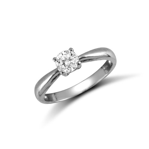 9ct White Gold Round CZ Solitaire Ring