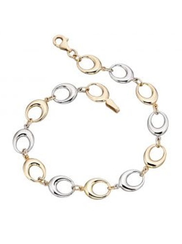 9ct Yellow & White Gold Open Oval Link Bracelet