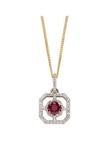 9ct Yellow Gold Ruby & Diamond Art Deco Necklace