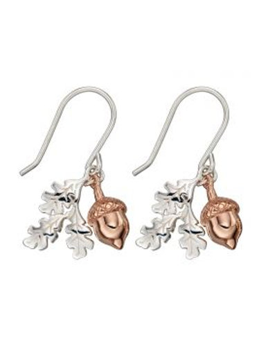 Silver & Rose Gold Acorn Drop Earrings