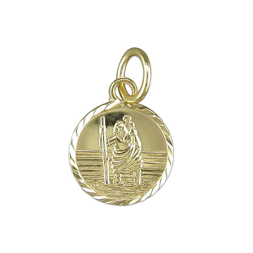 9ct Gold St Christopher Small diamond-cut round pendant