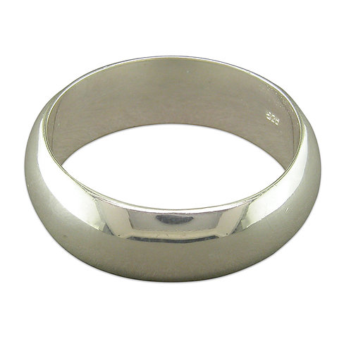 Silver D Shape 8mm Ring