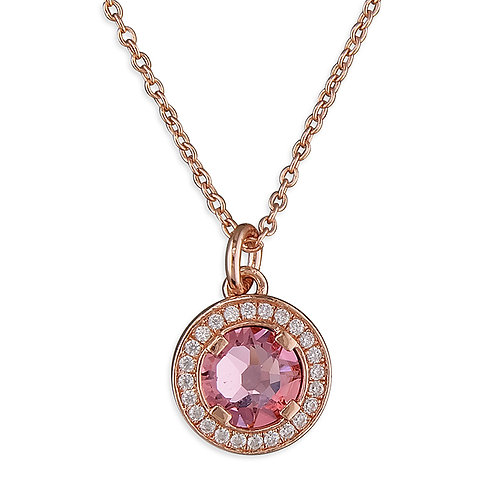 9ct Rose gold- plated necklace with pink crystal and cz