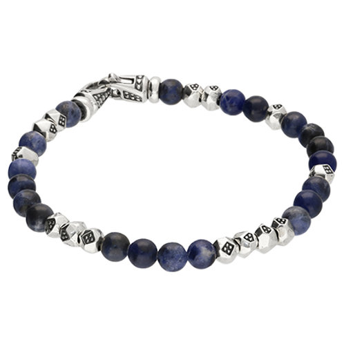 Men's Silver & Blue Sodalite Bead Bracelet