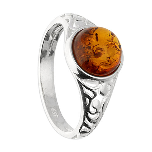 Sterling Silver Cognac Amber Ring