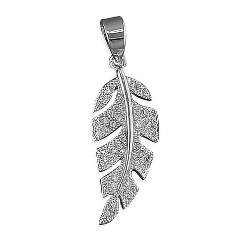 Silver Cubic Zirconia Leaf Pendant Necklace