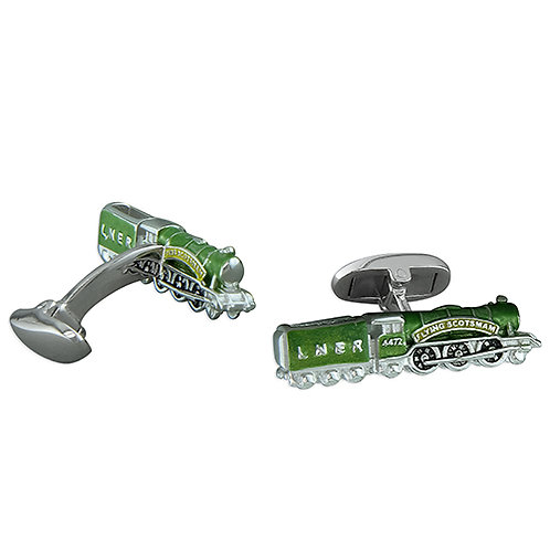 Flying Scotsman Locomotive Train Cufflinks
