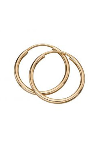 9ct Yellow Gold Sleeper Hoop Earrings 15mm