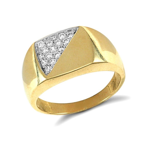 9ct Yellow Gold CZ Men's Signet Ring