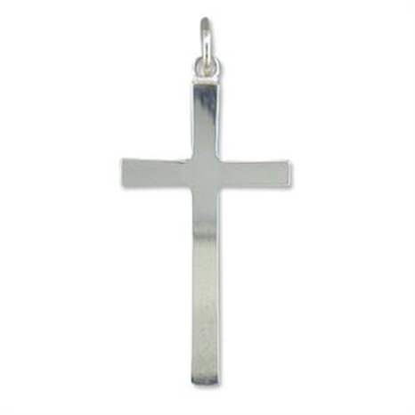 Silver Large Plain Cross Pendant