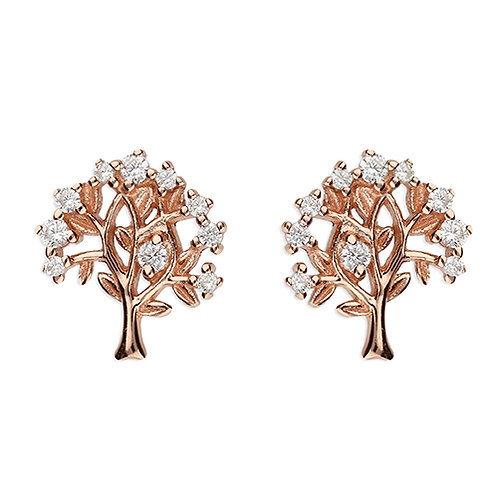 Rose Gold Cubic Zirconia Tree of Life Earrings