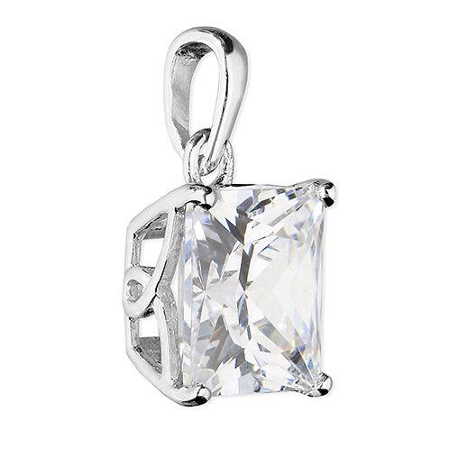 Silver Princess Cut Square CZ Necklace Pendant