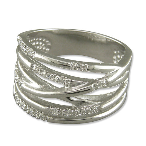 Silver CZ Crossover Ring