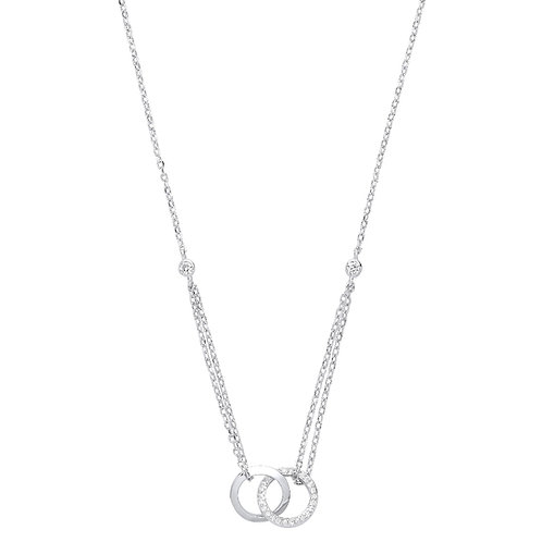 Silver Circles of Life CZ Necklace