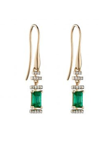 9ct Yellow Gold Emerald & Diamond Earrings