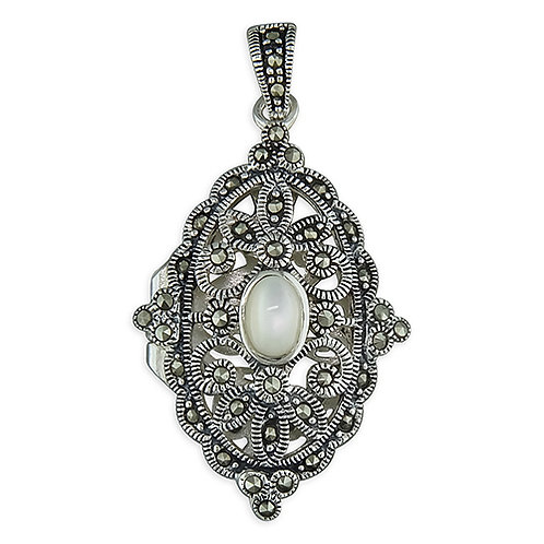 Fancy Marcasite Vintage Style Locket