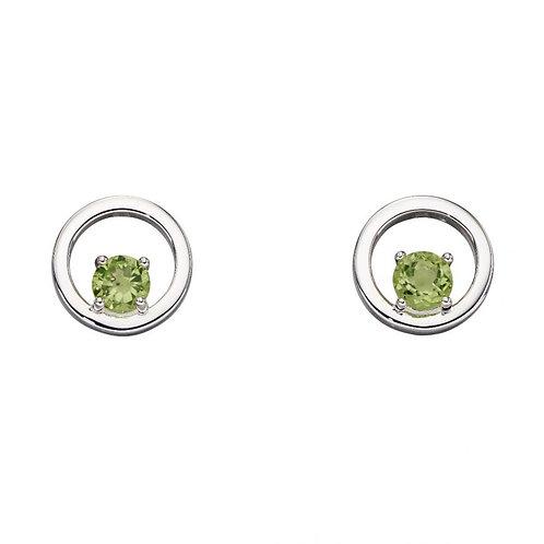 Peridot round stud earrings