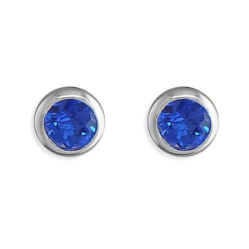 September Birthstone Sapphire CZ Stud Earrings