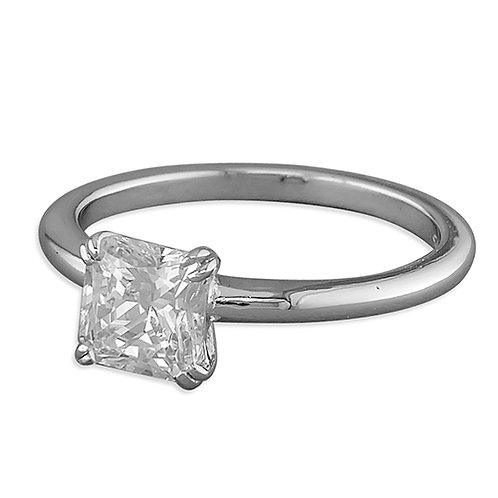 Silver Solitaire Princess Square CZ Ring