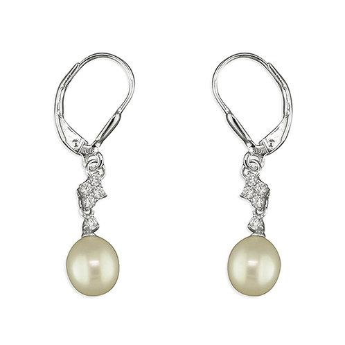 Silver CZ & Pearl Drop Earrings