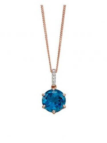 9ct Rose Gold London Blue Topaz & Diamond Necklace