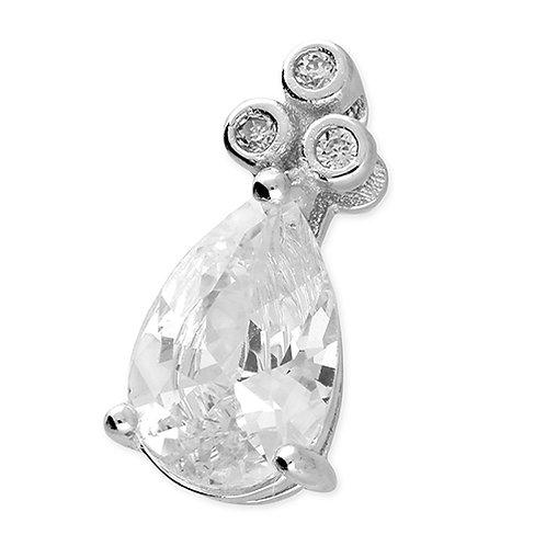 Silver Pear Cut Cubic Zirconia Pendant Necklace