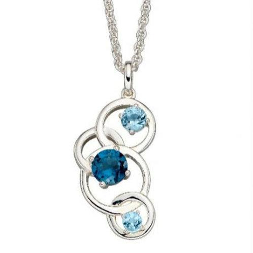 Multi Blue Topaz Circles Necklace