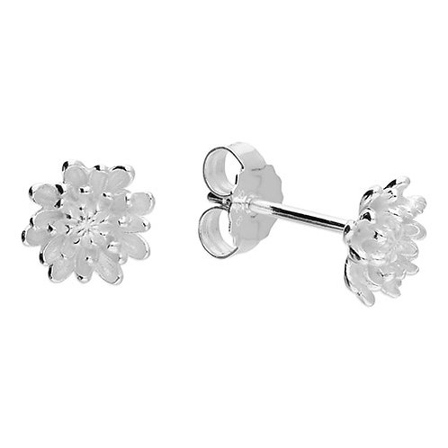 November Birthday Chrysanthemum Stud Earrings